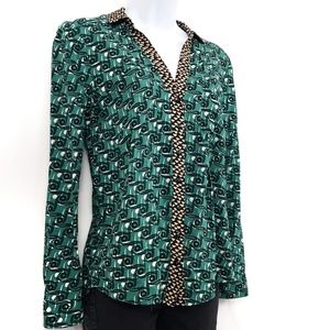 Anthropologie Maeve Casia Teal Button Up Size 4